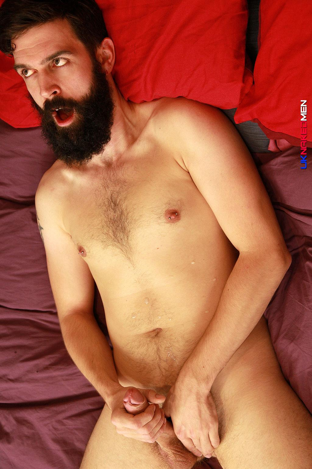 UK-Naked-Men-Tom-Long-Bearded-Guy-With-A-Big-Uncut-Cock-Jerk-Off-Amateur-Gay-Porn-13 Bearded Guy From England Jerking His Big Uncut Cock
