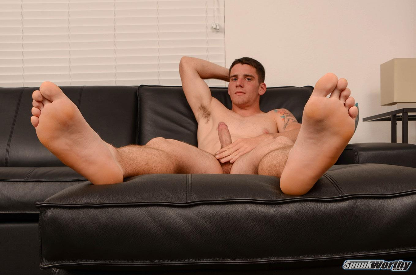 SpunkWorthy-Dale-Naked-Football-Jock-Jerking-Off-His-Big-Cock-Amateur-Gay-Porn-12 Straight Football Jock Jerks His Big Cock And Shows Off His Hairy Hole