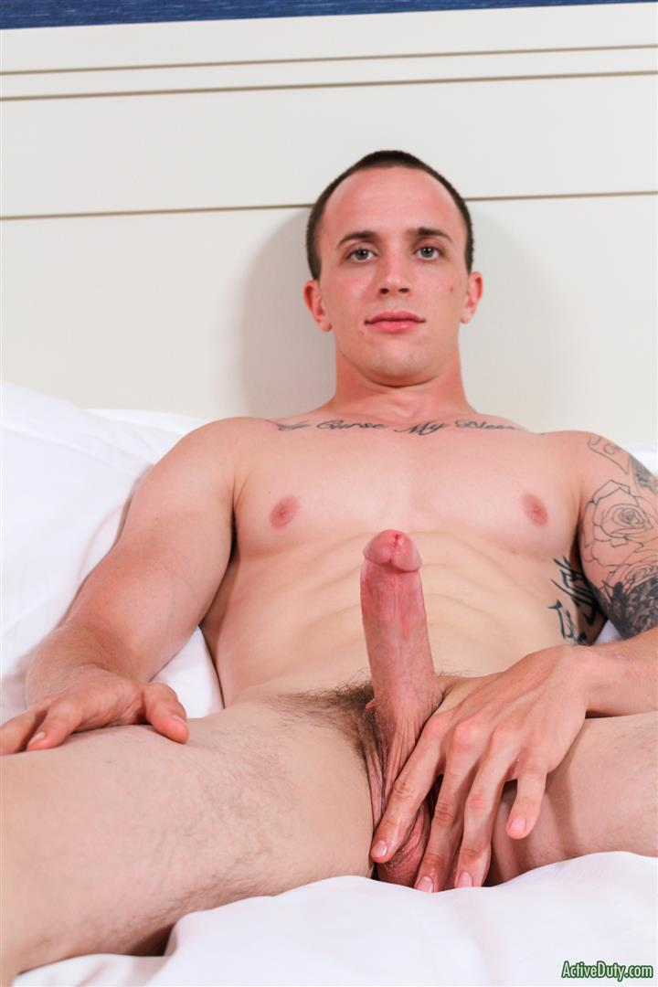Active-Duty-James-Straight-Army-Guy-Jerking-Off-His-Big-Cock-Amateur-Gay-Porn-09 Tatted Straight Army Hunk Auditions For Gay Porn and Shoots A Big Load