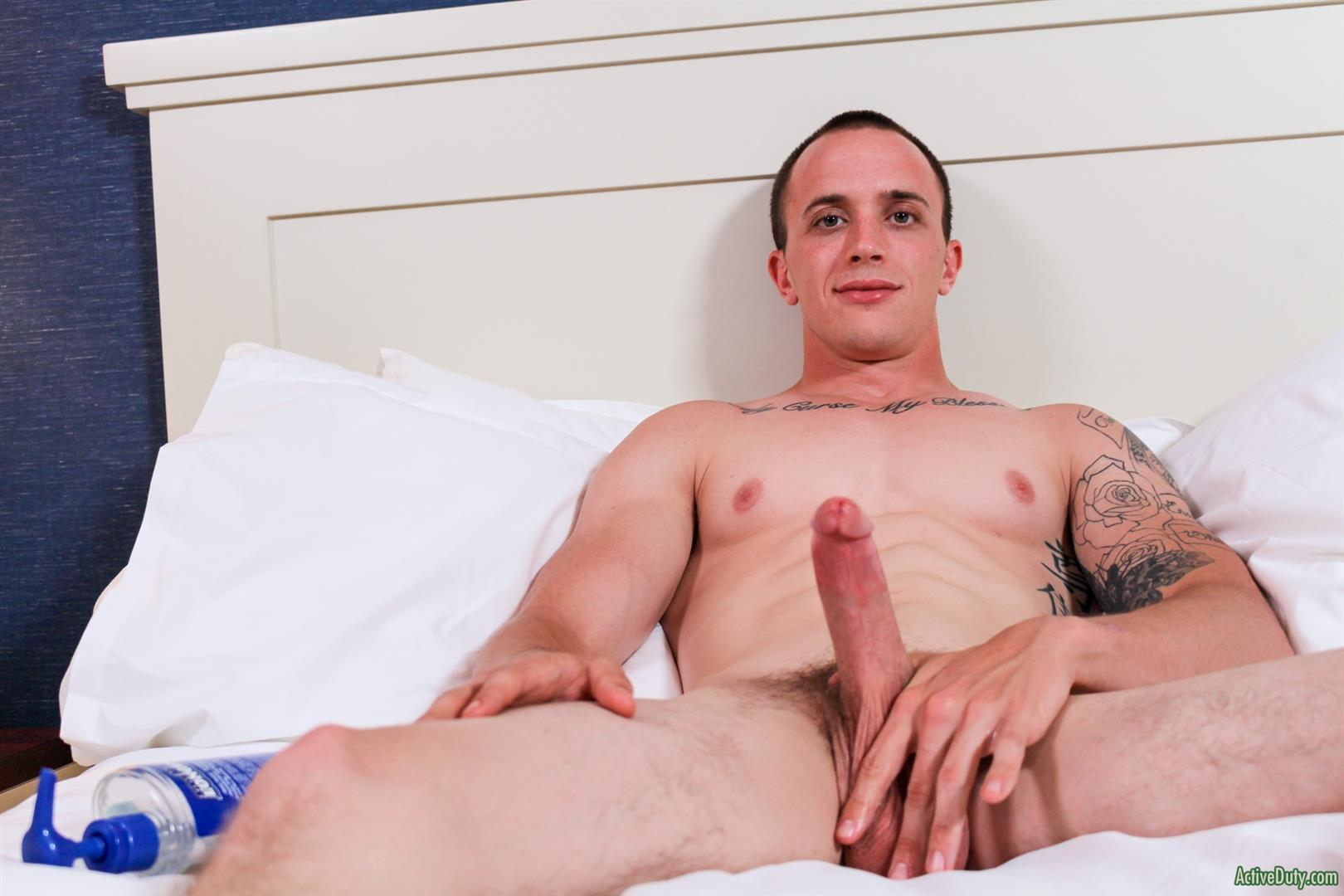 Active-Duty-James-Straight-Army-Guy-Jerking-Off-His-Big-Cock-Amateur-Gay-Porn-10 Tatted Straight Army Hunk Auditions For Gay Porn and Shoots A Big Load